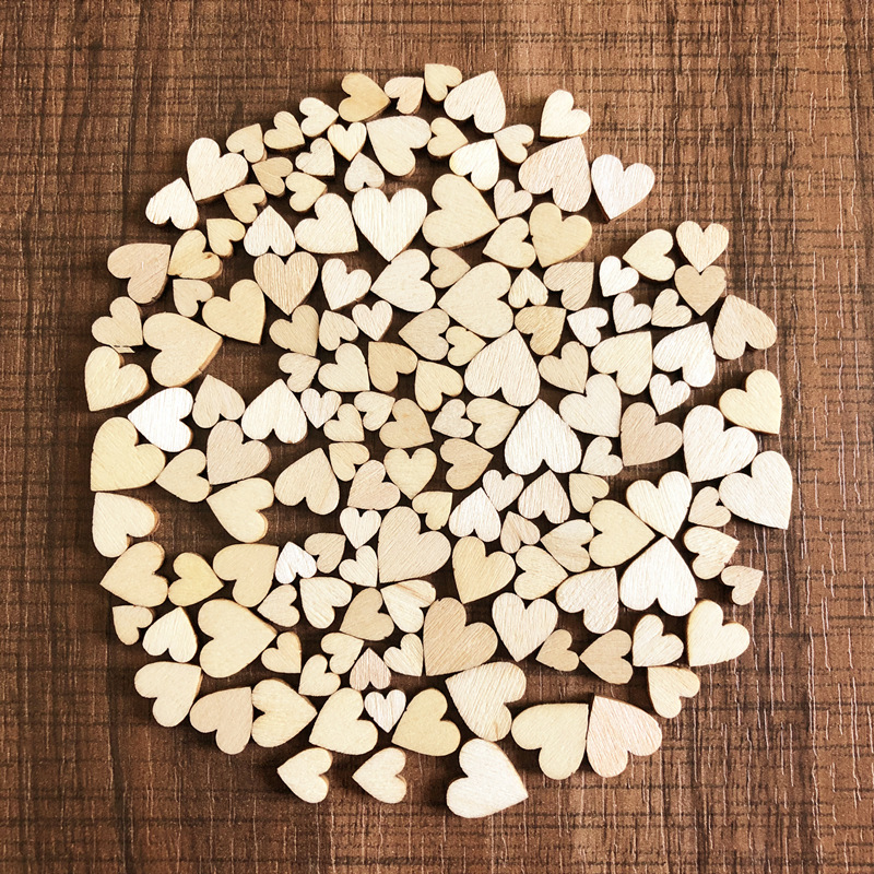 100pcs DIY Rustic Wood Wooden Love Heart Wedding Table Supplies Scatter Craft