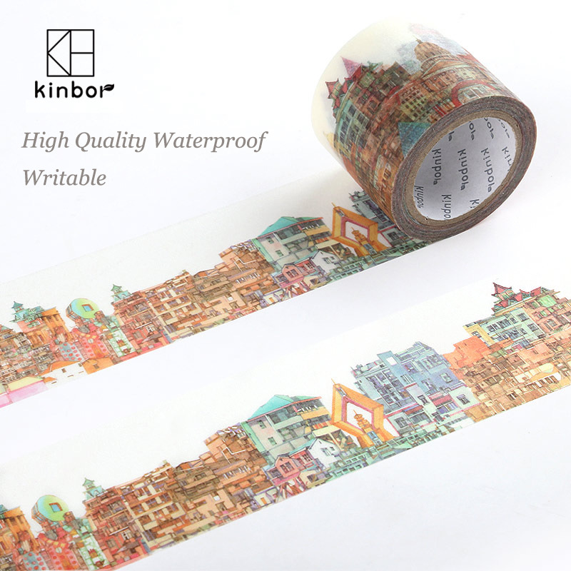 Kinbor Japanese Washi Tape Buildings Pattern DIY Deco Adhesive Tape Waterproof Writable Durable Masking Tapes Label Sticker 1roll 30mmx7m high quality feather pattern japanese washi decorative adhesive diy masking paper tape label sticker wholesale