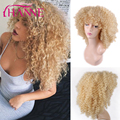 Synthetic Wigs Heat Resistant Honey Blonde afro kinky curly Wigs #613 blonde sprial curly Hair Wigs For African American Woman