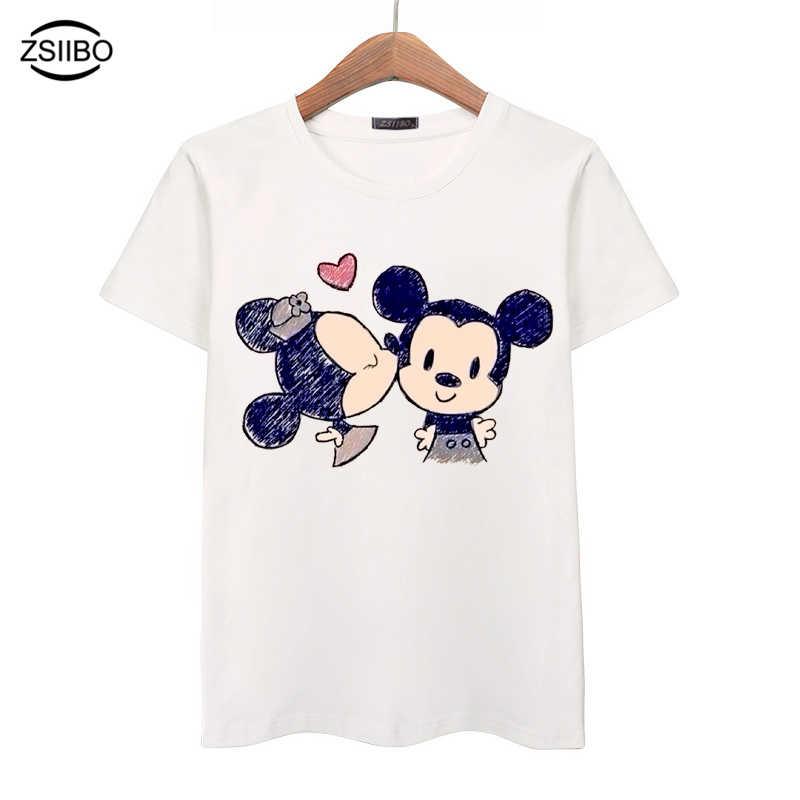 6788a774 ZSIIBO 2017 Summer Crayon Cartoon Animal Print T-Shirt Women Loose Short  Sleeve T Shirt