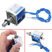 цена на 1pc JF-0826B Open Frame Solenoid DC 12V/2A Reset Stroke 10mm Cable 200mm Push Pull Type Electromagnet Coil Electronic Parts