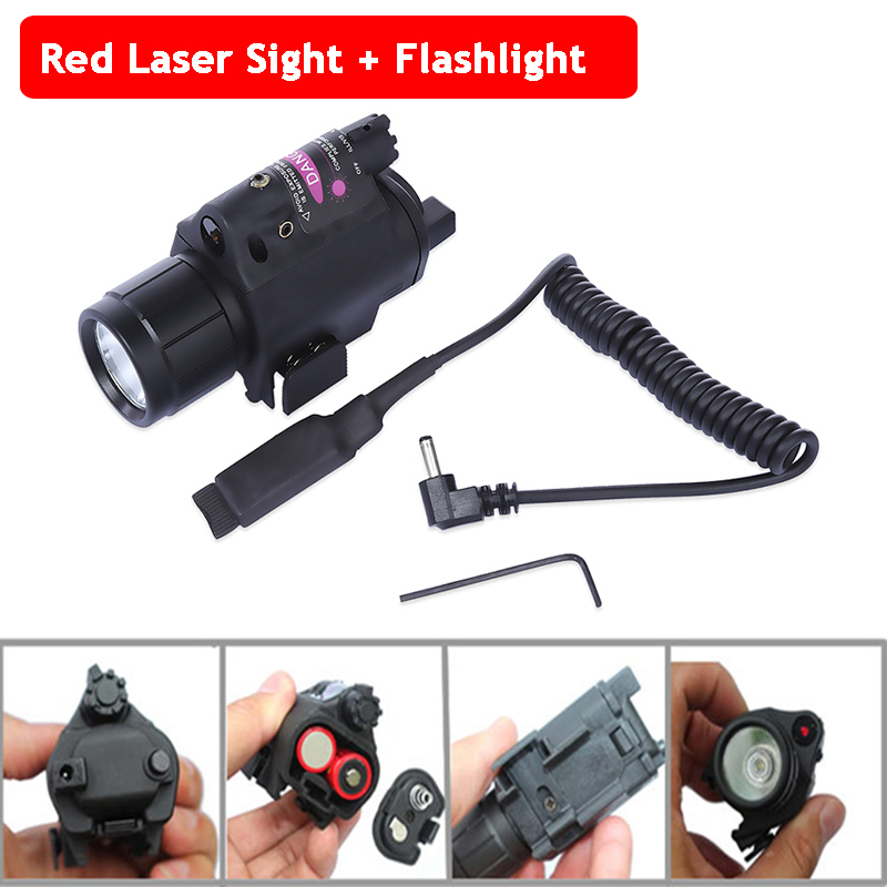 20mm Rail Rifle Pistol Gun Shooting Red Dot Laser Sight Hunting Scopes + Tactical LED Flashlight
