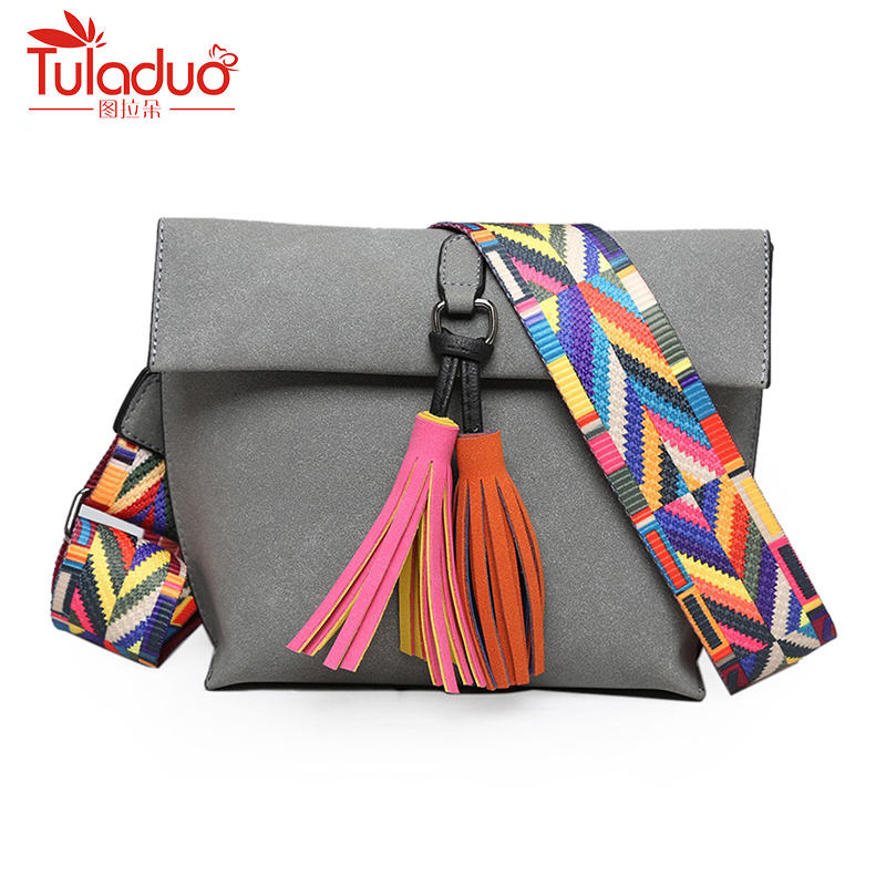 New Fashion Tassel Inclined Shoulder Handbag Colour Straps One Shoulder Bag PU Leather Womens Frosted Small Square Bags