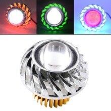 Motorcycle Fog Light LED Projector Universal Scooter Double Angel Eye Headlight 8-15W Hi/Lo Beam Car Demon Headlamp