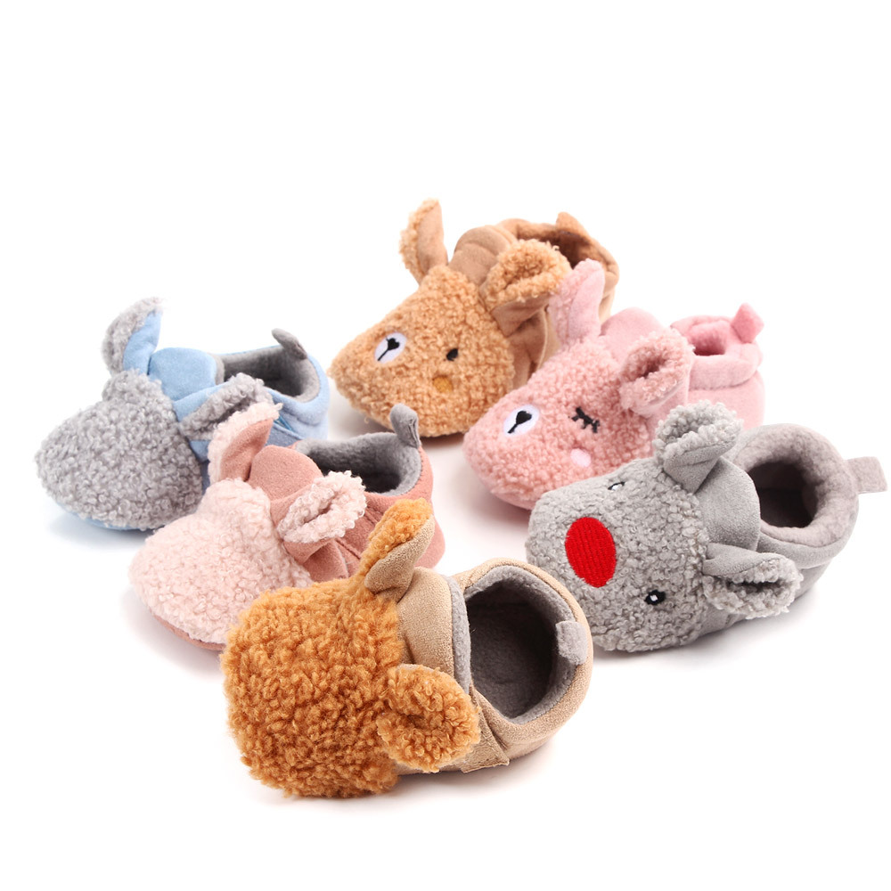 New Arrival Toddler Newborn Baby Cute Shoes Baby Girls Boys Slippers Prewalker Keep Warm Anti-Slip Winter Animal First Walker