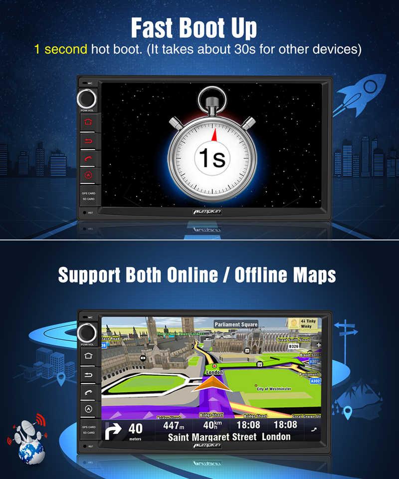 ฟักทอง 2 Din 7 ''Android 9.0 Universal GPS รถวิทยุ DVD Player 2G RAM 32G ROM เครื่องเสียงรถยนต์สเตอริโอ Wifi 4G Fast Boot Headunit