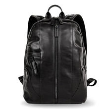 Genuine Leather Solid Backpack For Man Large Double Zipper Travel Rucksack Classic Unisex Black Bag hiking backpacks