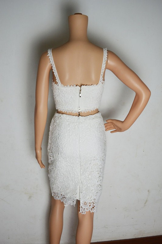 Sexy Kim Kardashian Two piece Knitted White Lace Dresses - kim-kardashian-outfits-dresses