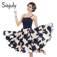 Sisjuly women vintage dress sleeveless sexy pin up blue rose print rockabilly summer 1950s style female elegant vintage dresses