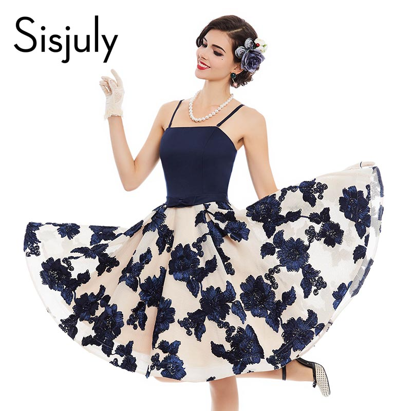 Buy Cheap Sisjuly women vintage dress summer blue rose print bow 1950s sleeveless sexy pin up rockabilly female vintage dresses new 2017