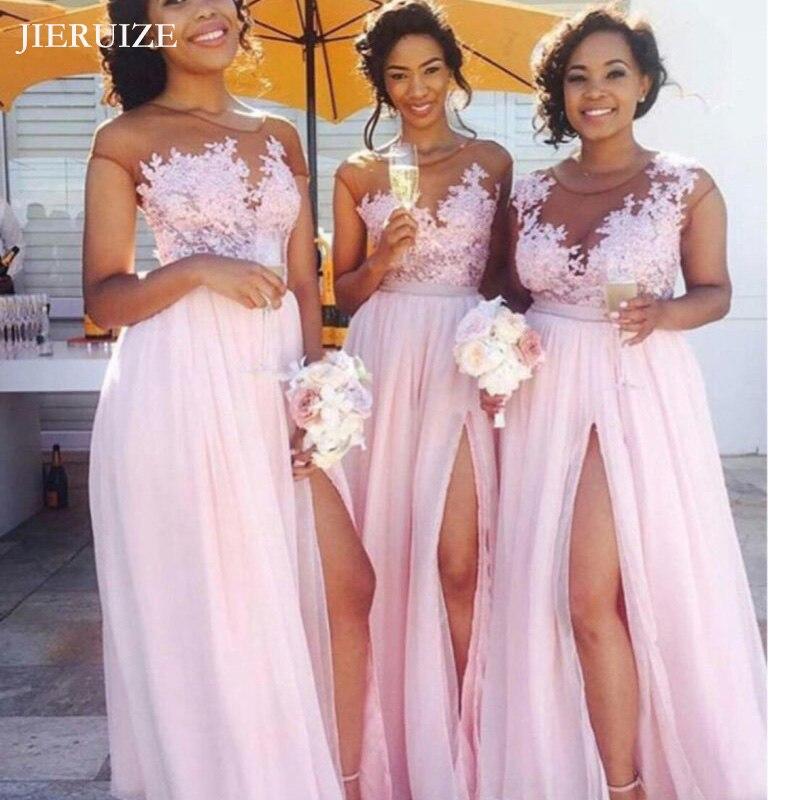 JIERUIZE Pink Lace Appliques chiffon   Bridesmaid     Dresses   Lace Up Back Long Wedding Party   Dresses