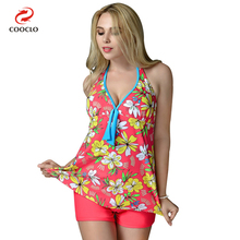 COOCLO Plus Size Swimwear Floral Women Beach Swim Wear Two Pieces Tankini Halter Large Cup Swimsuit Bathing Suit for 5XL