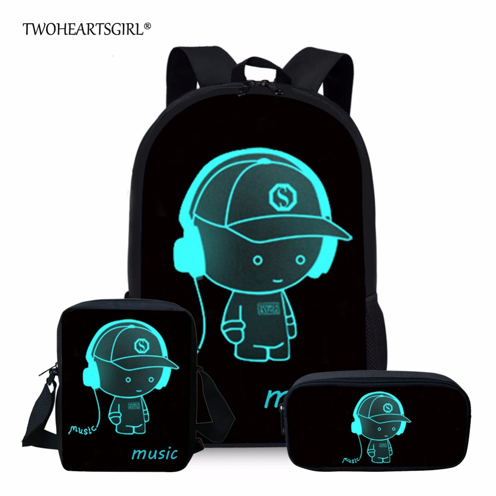 Twoheartsgirl Black School Bag Sets Luminous Schoolbag for Teenager Girls Cute Children Kids Bookbags Mochila Escolar