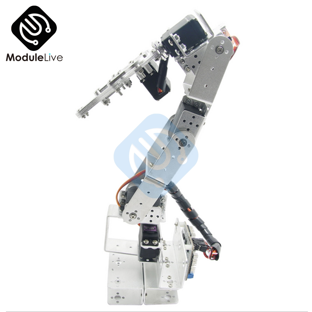 ROT3U 6DOF Aluminium Robot Arm Mechanical Robotic Clamp Claw for Arduino Silver-in Instrument Parts & Accessories from Tools