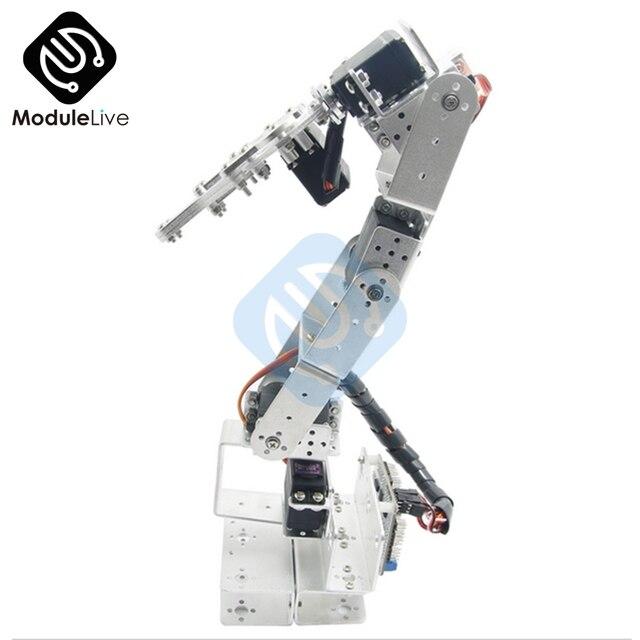 ROT3U 6DOF Aluminium Robot Arm Mechanical Robotic Clamp Claw for Arduino Silver