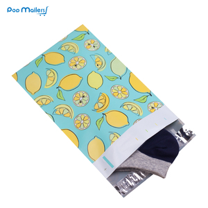 Image 4 - 100pcs 15x23cm 6x9 인치 레몬 과일 패턴 폴 리 메일러 셀프 인감 플라스틱 봉투 가방