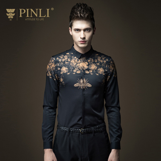 Free Shipping New fashion casual personality male men's long sleeved slim flower shirt micro collar B16311030 gentleman on sale