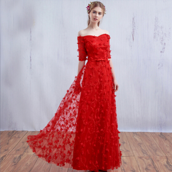 Beautiful Dresses To Wear To A Wedding: Long Gowns Fancy Off Shoulder Red Beautiful Dresses For