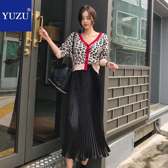 8b37cb7c4d Matching Sets Women Winter 2 Piece Outfits Sexy Red Leopard Cardigan Black  Pleated Maxi Skirt Single