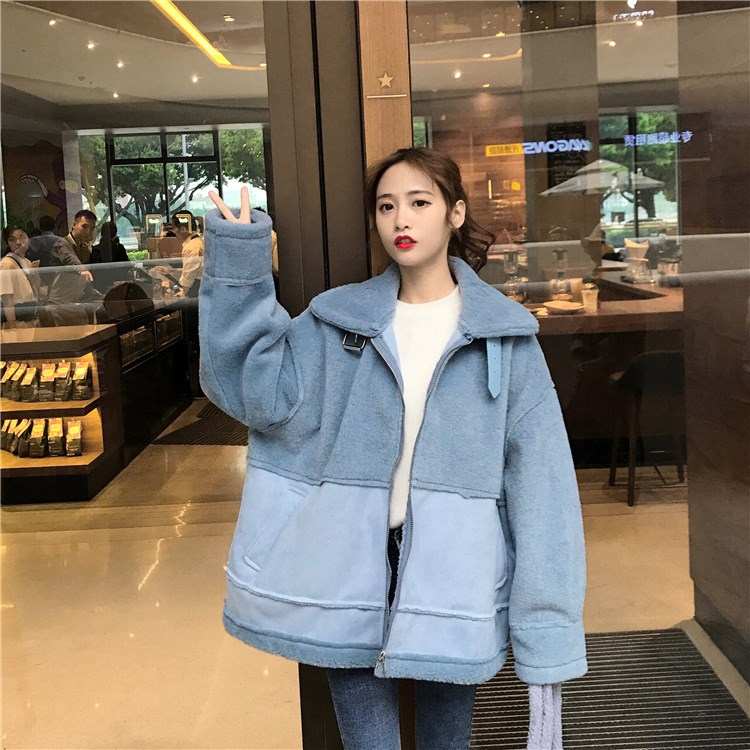 Winter Womens Casual Long Sleeve Coat   Jacket   Stand Collar Bomber Coat Tops Spliced Women   Basic     Jacket