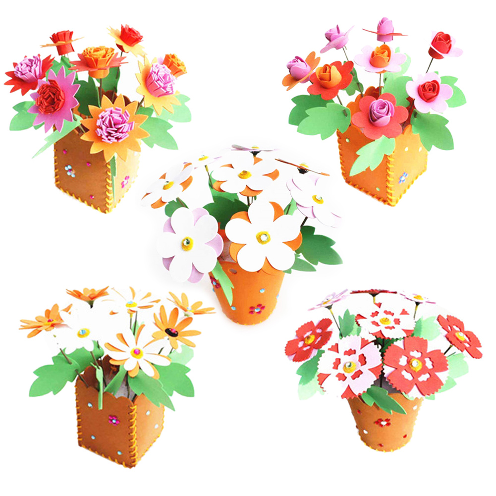 Educational Children DIY 3D EVA Foam Flowerpot Home Decoration Personalized Jigsaw Toy Gift Kids Child Craft