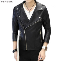 VERSMA 2017 Jaqueta De Couro Motoqueiro Vintage Motorbike Male Pu Leather Jacket Coat Slim Fit Rock