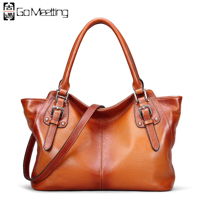 Go Meetting Brand Genuine Leather Women Handbags Trapeze Design Style Bags Vintage Cow Leather Ladies Shoulder Messenger Bag vintage women genuine leather handbags ladies retro elegant shoulder messenger bag cow leather handmade womans bags