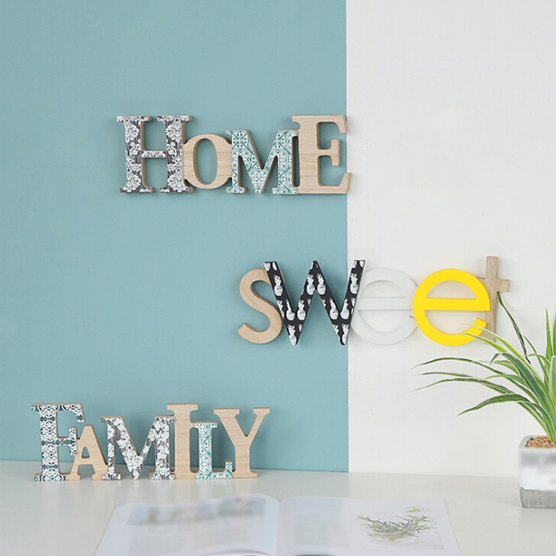 Nordic Wooden Home/Family Word Wall Art Kindergarten Decoration Children Room Decoration Wedding Party Home Decoration Letters