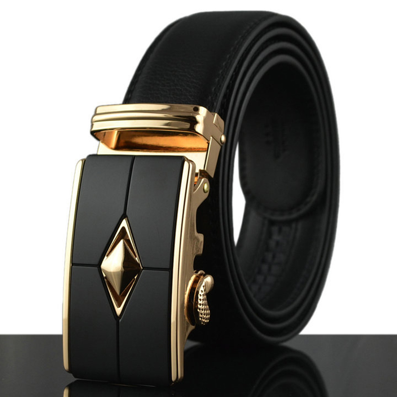 2018 Genuine Leather Belts for Men 110-150cm Large Straps Fashion Cowskin Ceinture Business Cool Big Belt with Automatic Buckle