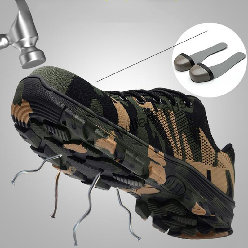 Construction Mens Outdoor Plus Size 35 46 Steel Toe Cap Work Shoes Men Camouflage Puncture Proof