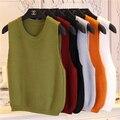 Mujeres Suéter Tejido Chaleco Vino de Color Caqui Rojo Amarillo Verde Negro Sin Mangas Camisa corta Suéter Suéter Corto