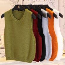 Women Knitted Sweater Vest Wine Red Khaki Yellow Green Black Sleeveless Sweater Short Crop Top Sweater