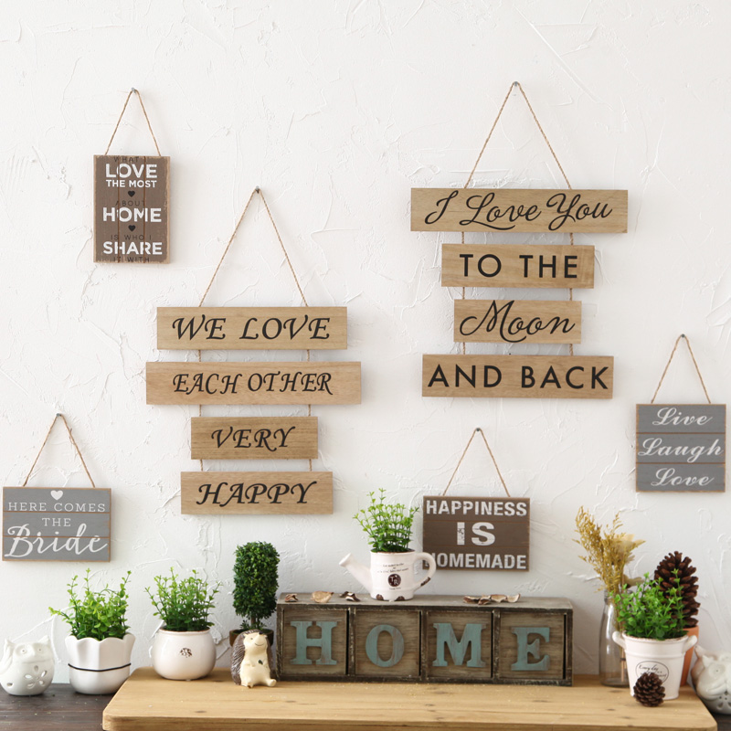 2017 new Creative retro wooden shop cafe wall hanging decoration sign personality Home Furnishing decoration sign