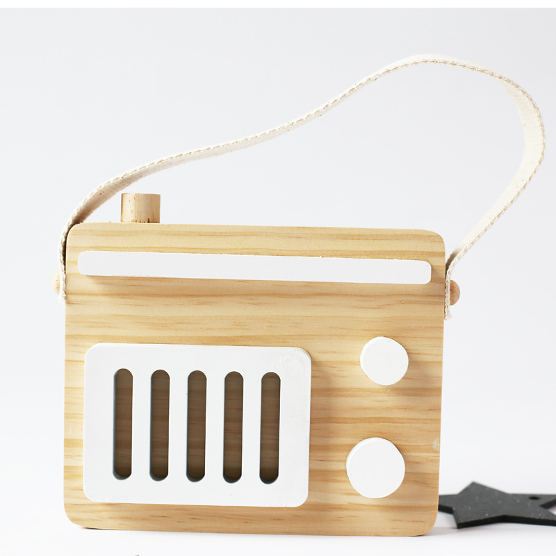 Hanging Wooden Radio Camera Toys 17*11cm Room Decor Furnishing Articles Christmas Gifts For Kids Wooden Toy