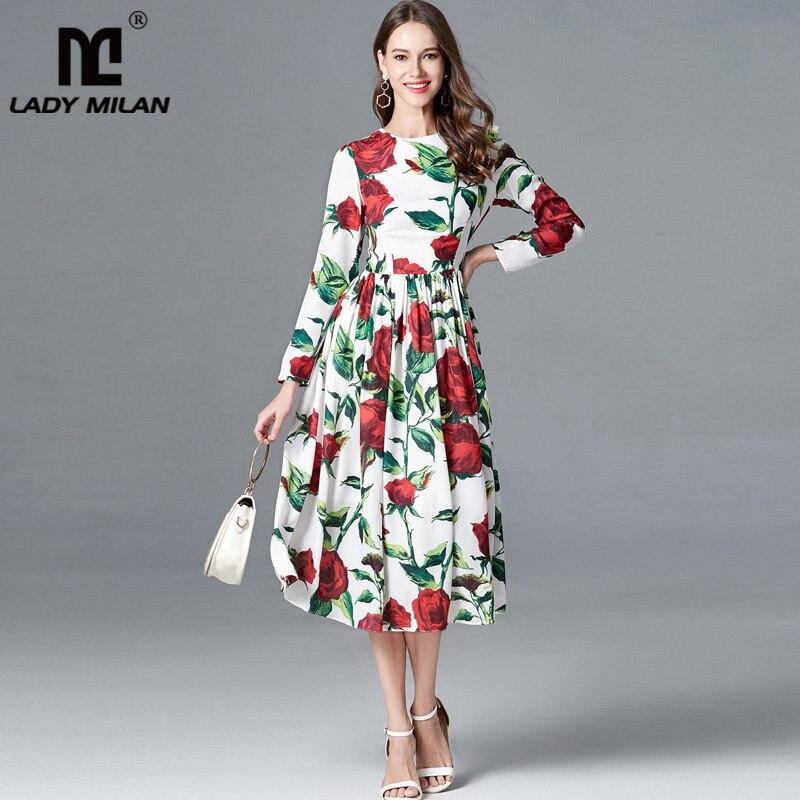 ใหม่มาถึง 2019 ผู้หญิง O คอยาวแขนเสื้อพิมพ์ลายดอกไม้ Elegant Casual High Street แฟชั่นชุด-ใน ชุดเดรส จาก เสื้อผ้าสตรี บน   1