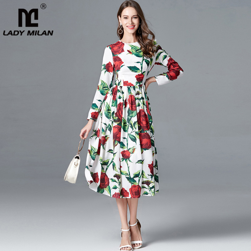 New Arrival 2018 Womens O Neck Long Sleeves Printed Floral Elegant Casual High Street Fashion Dresses