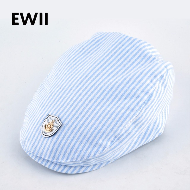 edc92393159 2017 Spring and autumn kids beret hats for boy cotton newsboy cap boina  girl leisure striped