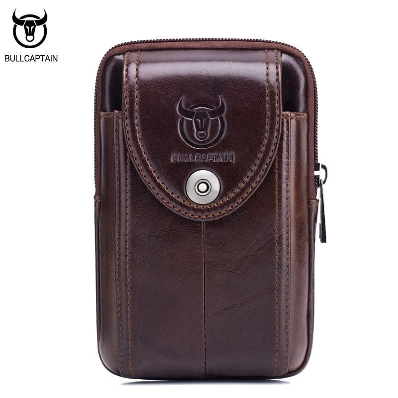 BULLCAPTAIN Vintage valódi bőr férfi derékcsomagok táska öv mini férfi táska kiváló minőségű retro kis telefon táska barna