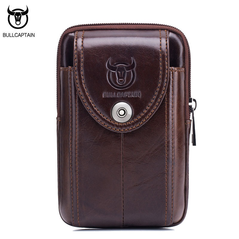 BULLCAPTAIN Vintage γνήσια δερμάτινα παπούτσια μέσης τσάντα τσάντα τσάντα μίνι τσάντα άνθρωπος υψηλής ποιότητας ρετρό μικρό τσάντα τηλέφωνο καφέ
