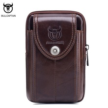 BULLCAPTAIN Vintage Echtem Leder Männer Taille Packs Gürtel Mini Mann Tasche Hohe Qualität Retro Kleine Phone bag Brown