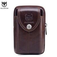 BULLCAPTAIN Vintage Genuine Leather Men Waist Packs Bag Belt Mini Man Bag High Quality Retro Small