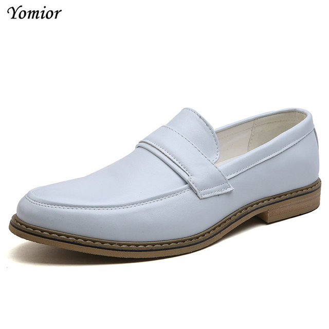1a874898fb US $27.09 41% OFF|Yomior 2018 Fashion New Leather Shoes Men Formal Office  Suit Shoes Italian Dress Party Wedding White Brown Footwear Oxfords-in ...