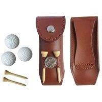 Mini Przenośne Skóry Clip On Piłki Golfowej Holder Pouch Bag ciemny Khaki Trzymać 3 Kulki/TEE/mark Golfista Pomocy Narzędzie Prezent Golfa akcesoria