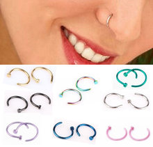 New 10pcs Medical Titanium Silver Hoop Nose Rings Clip on Ear Lip Navel Body Piercing Fake Percing Jewelry Women Pircings 2018(China)
