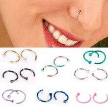 New 10pcs Medical Titanium Silver Hoop Nose Rings Clip on Ea