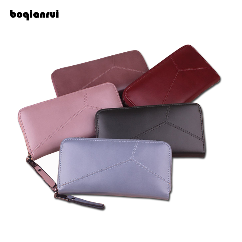 BOQIANRUI 2017 Woman Wallet PU Wallet Female Long Zipper Wallets Ladies Fashion Coin Purse Solid Women Purses Handbags ybyt brand 2017 new fashion simple solid zipper long women standard wallets hotsale ladies pu leather coin purses card package
