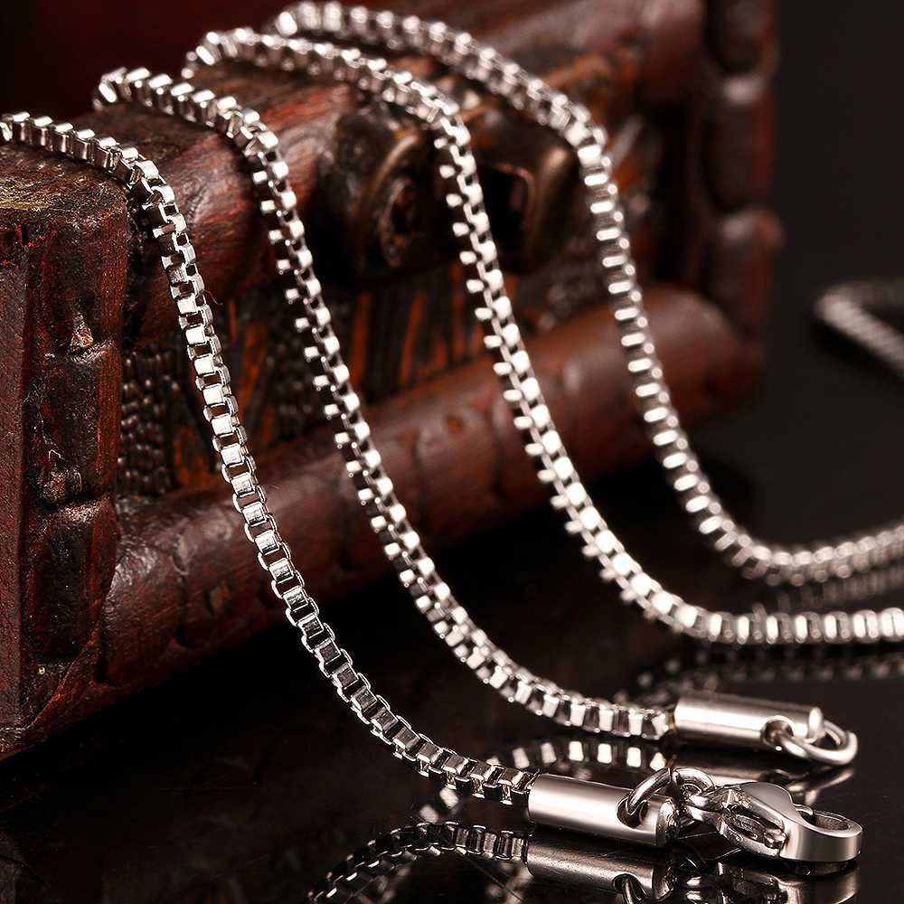 Wholesale 316L Stainless Steel 1.1MM Box Chain Necklace Fashion Accessories for Women Fit Pendant Titanium Steel Jewelry