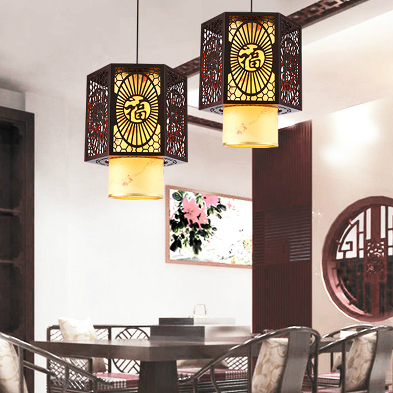 Classical Chinese restaurant chandelier single head wood imitation sheepskin lamps teahouse dining decoration lamp ZS83 mx122620