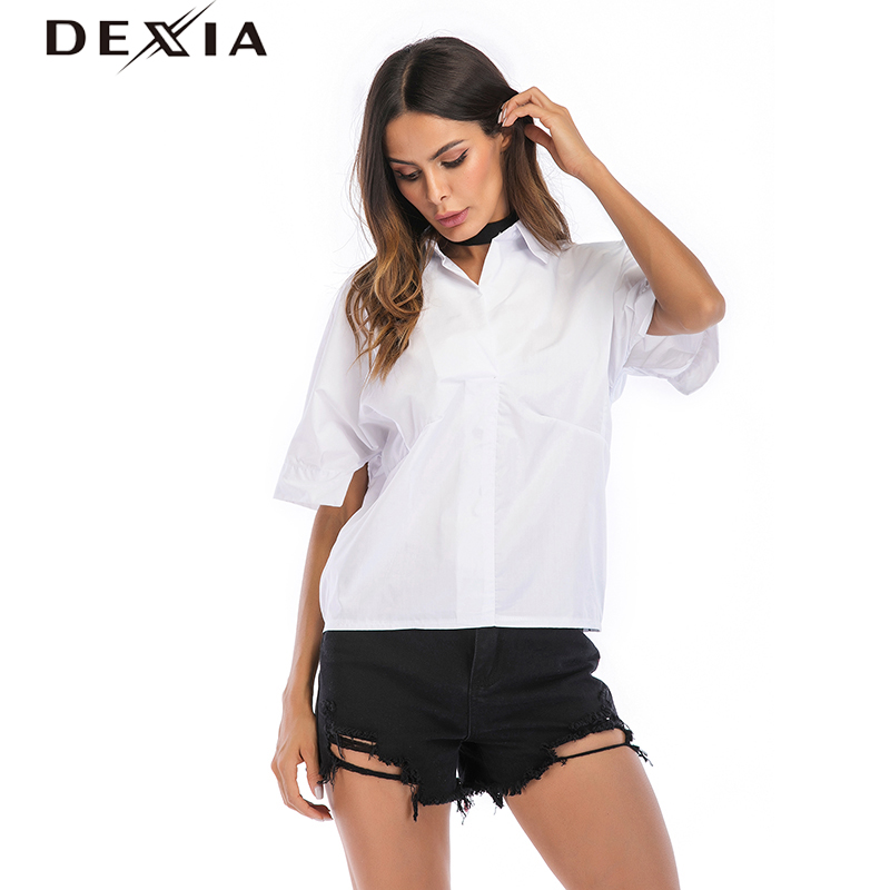 DEXIA Vadim Top Women Blouses Short Sleeve White Solid Loose Summer Casual Fall Blouse Turn-down Collar Wome Clothing SKST5806
