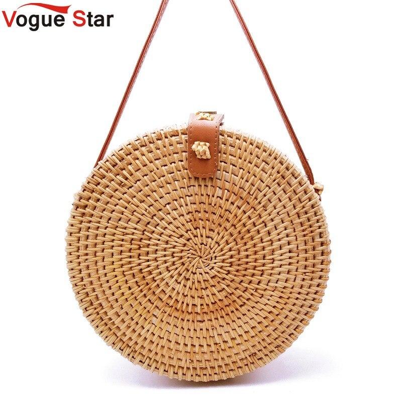 2019 Bohemian Bali Rattan Bags for Women Small Circle Beach Handbags Summer Vintage Straw Bag Handmade messenger bag L26 Сумка